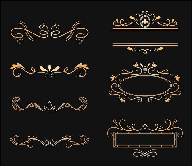 Kolekcja złoty ornament kaligraficzny