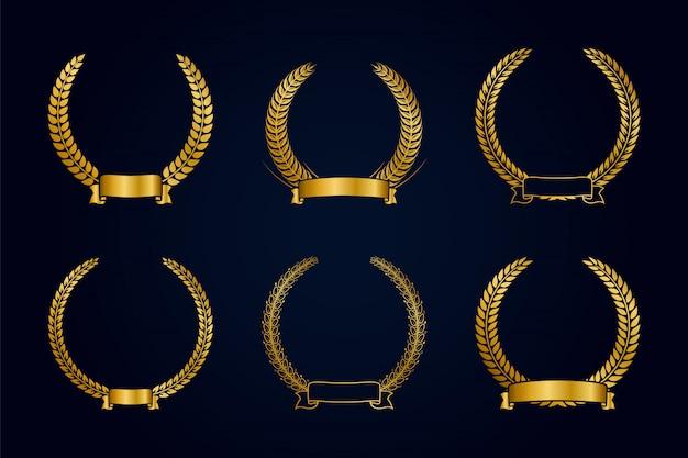 Kolekcja złoty wieniec laurowy ze wstążką. szablon nagrody złota