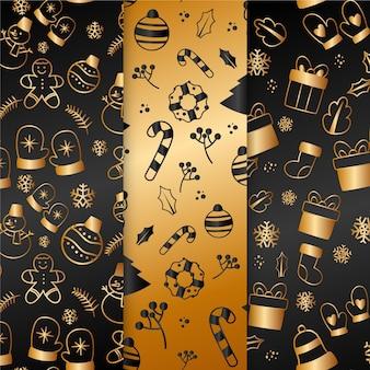 Kolekcja złoty wzór boże narodzenie