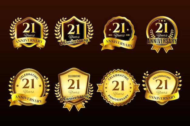 Kolekcja złotych 21 rocznicowych odznak