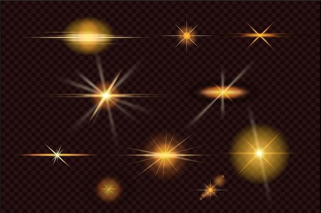 Kolekcja złotych błysków światła