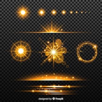 Kolekcja złotych efektów świetlnych