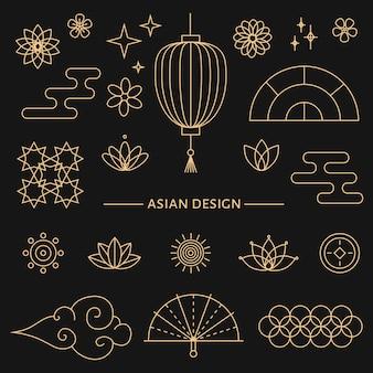 Kolekcja złotych elementów dekoracyjnych w stylu orientalnym z księżycem