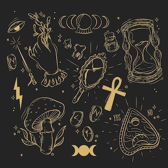 Kolekcja złotych elementów ezoterycznych