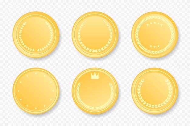 Kolekcja złotych luksusowych okrągłych ramek. ilustracji wektorowych. złote naklejki odznaka zestaw z wieńcem laurowym, gwiazdami, koroną