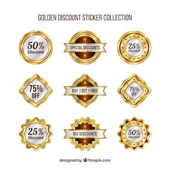 Kolekcja złotych naklejek zniżki