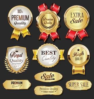Kolekcja złotych odznak i etykiet w stylu retro