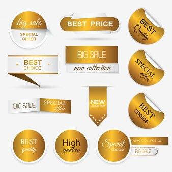 Kolekcja złotych pieczątek / naklejek promocyjnych. ilustracja na białym tle