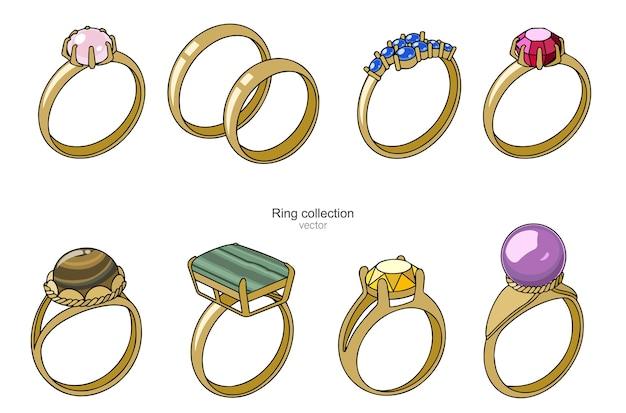 Kolekcja złotych pierścionków z kamieniami szlachetnymi.