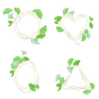 Kolekcja złotych ramek geometrycznych z zielonymi liśćmi miłorzębu, w stylu art deco na zaproszenia ślubne, luksusowe szablony, wzory dekoracyjne, nowoczesne elementy abstrakcyjne, ilustracji wektorowych