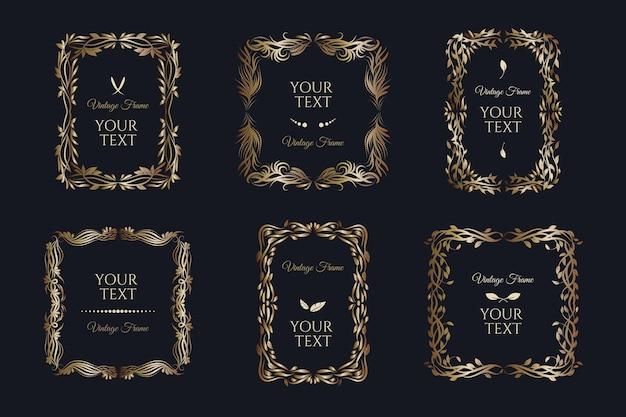 Kolekcja złotych ramek vintage