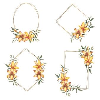 Kolekcja złotych ramek z bukietem akwarelowych lilii