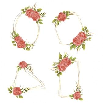 Kolekcja złotych ramek z różowymi akwarelowymi zaproszeniami ślubnymi