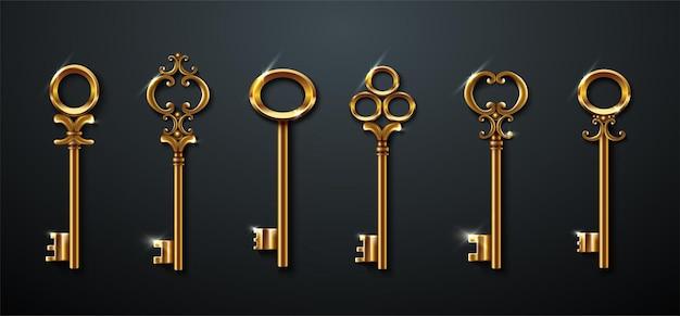 Kolekcja złotych starych kluczy vintage