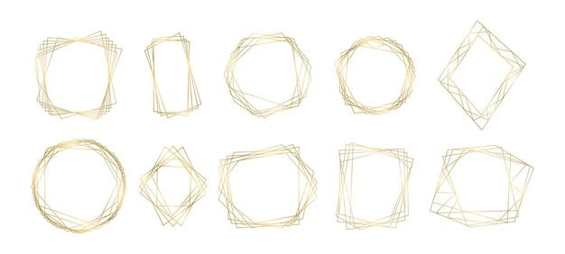Kolekcja złotych wielokątnych geometrycznych luksusowych ramek