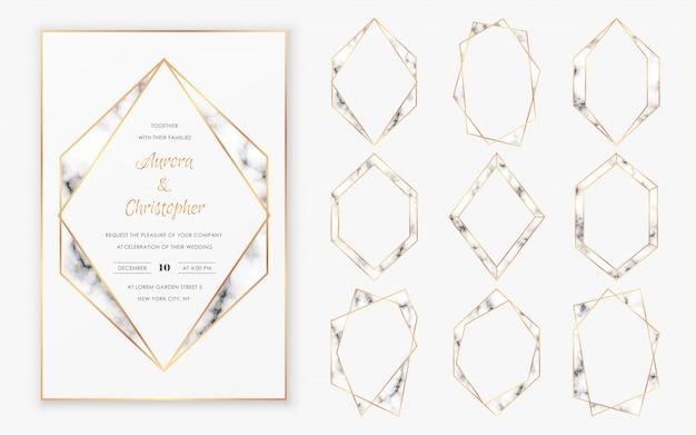 Kolekcja złotych wielokątnych ram kryształowych o modnej fakturze marmurowej.