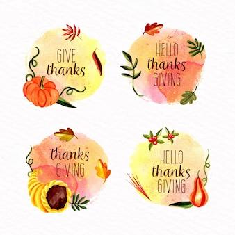 Kolekcja znaczek akwarela dziękczynienia