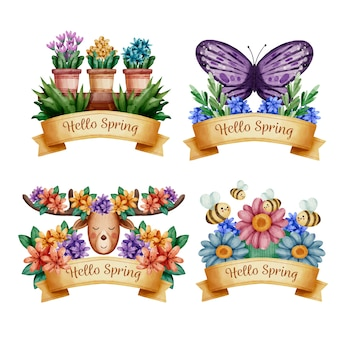 Kolekcja znaczek wiosna akwarela