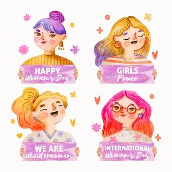 Kolekcja znaczków akwarela dzień kobiet