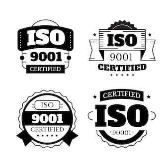 Kolekcja znaczków certyfikacji iso w czerni i bieli