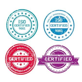 Kolekcja znaczków certyfikacji iso