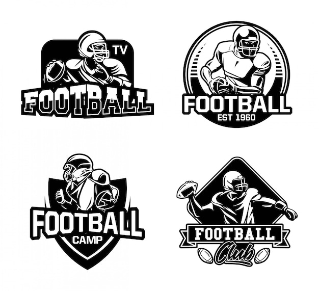 Kolekcja znaczków ligi futbolu amerykańskiego w czerni i bieli
