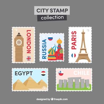 Kolekcja znaczków miasta w stylu płaski