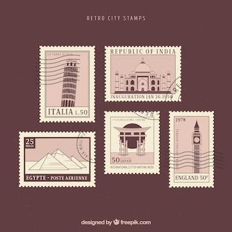 Kolekcja znaczków miasta w stylu retro