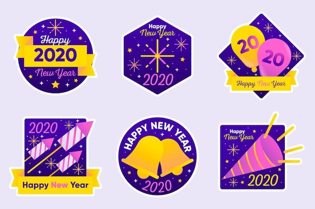 Kolekcja znaczków na nowy rok 2020 w płaskiej konstrukcji