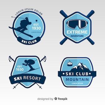 Kolekcja znaczków narciarskich zima sylwetka