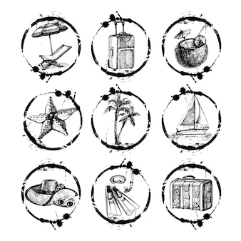 Kolekcja znaczków podróży i wakacji - projekt, notatnik - w wektorze. czarno-biały zestaw podróżny z ręcznie rysowanymi ilustracjami