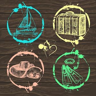 Kolekcja znaczków podróży i wakacji - projekt, notatnik - w wektorze. zestaw podróżny z ręcznie rysowanymi ilustracjami