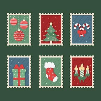 Kolekcja znaczków świątecznych płaska konstrukcja