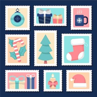 Kolekcja znaczków świątecznych w płaskiej konstrukcji