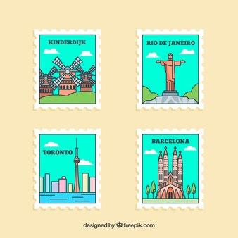 Kolekcja znaczków z punktami orientacyjnymi na turkusowym niebie