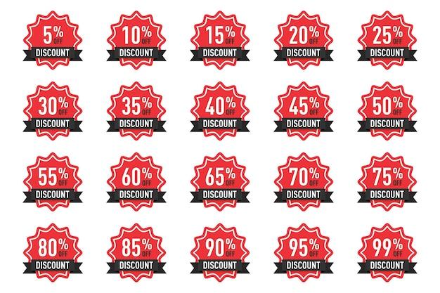 Kolekcja znaczników procentowych odznak rabatowych na reklamę