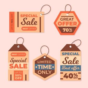 Kolekcja znaczników sprzedaży vintage