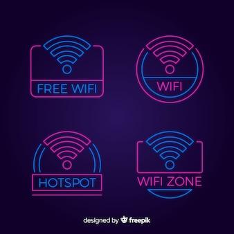 Kolekcja znak neon wifi