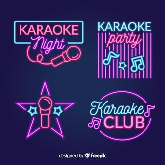 Kolekcja znak światła neon noc karaoke