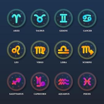 Kolekcja znak zodiaku gradientu
