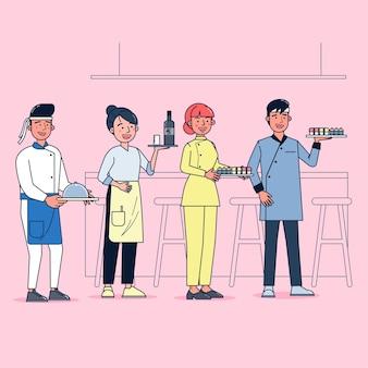 Kolekcja znaków cateringu duży zestaw izolowanych płaskich ilustracji noszących profesjonalny mundur, styl kreskówki