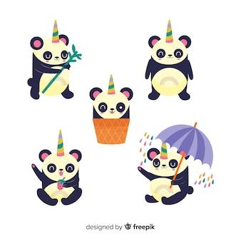Kolekcja znaków cute jednorożca kawaii