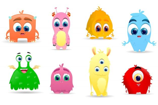Kolekcja znaków cute little potworów