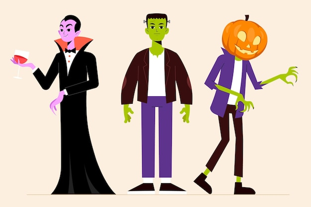 Kolekcja znaków halloween w płaskiej konstrukcji