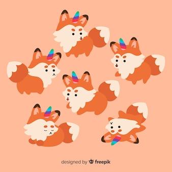 Kolekcja znaków jednorożca kawaii fox