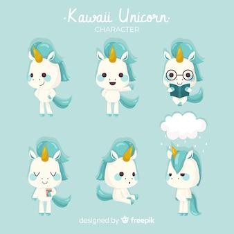 Kolekcja znaków jednorożca kawaii