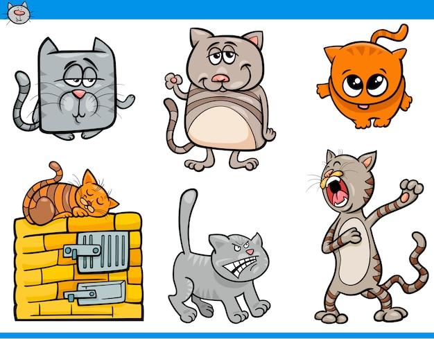 Kolekcja znaków kot kreskówka