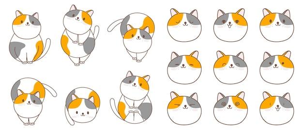 Kolekcja znaków kot kreskówka.