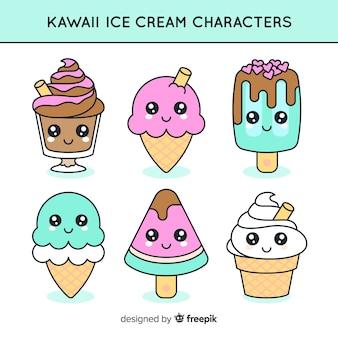 Kolekcja znaków lodów kawaii