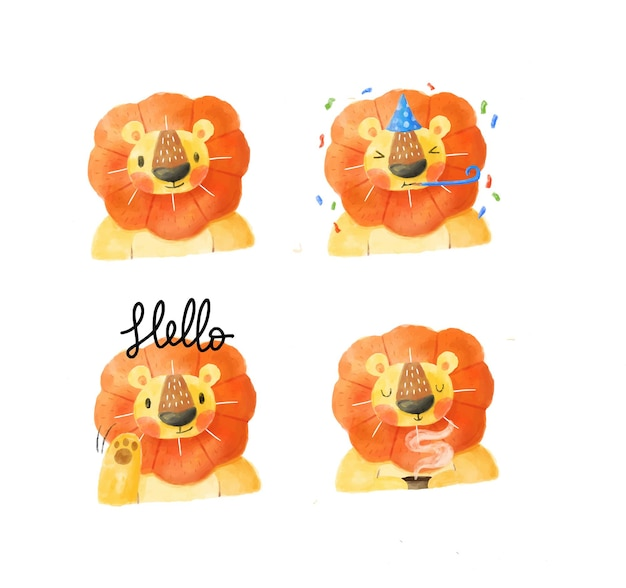 Kolekcja znaków lwa akwarela
